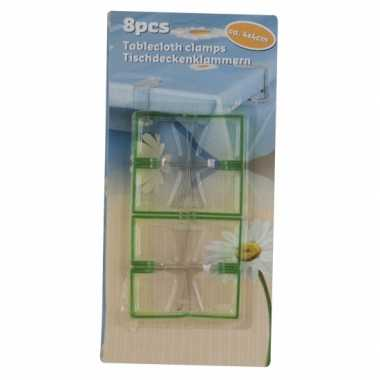 Plastic acht lime groene tafel kleed klemmen
