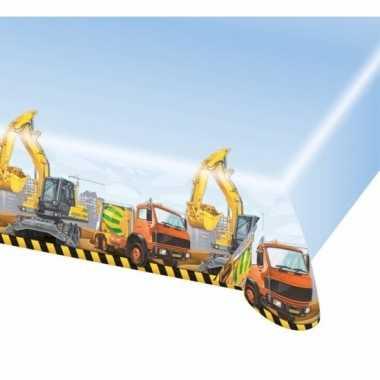 Plastic bouwvakker thema tafelkleed 120 x 180 cm