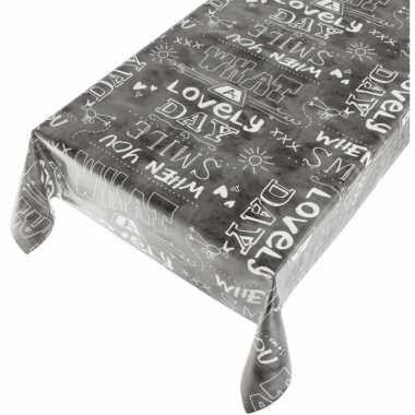 Plastic buiten tafelkleed/tafelzeil antraciet met tekst 140 x 170 cm