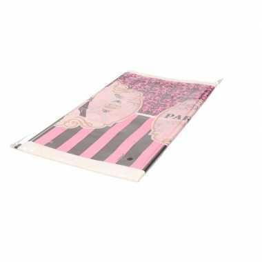 Plastic frankrijk parijs thema tafelkleed roze 259 cm