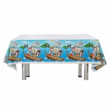 Plastic verjaadags tafelkleed piraat blauw 137 x 182 cm