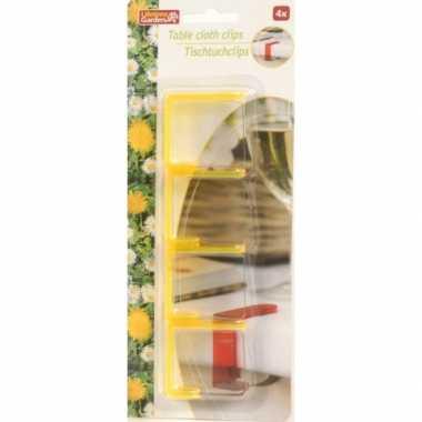 Plastic vier gele tafel kleed klemmen