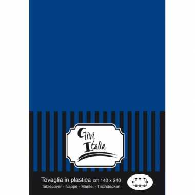 Plastic wegwerp tafelkleed donkerblauw 140 x 240 cm