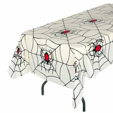 Plastic wit halloween spinnenweb tafelkleed 135 x 270 cm