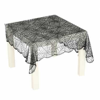 Plastic zwart spinnenweb tafelkleed 70 x 95 cm