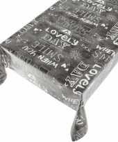 Plastic buiten tafelkleed tafelzeil antraciet met tekst 140 x 170 cm
