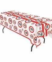 Plastic stopborden tafelkleed 70 jaar