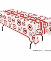 Plastic verkeersbord tafelkleed 16 jaar